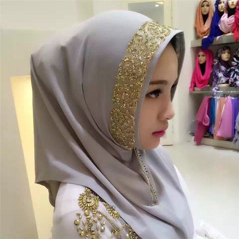 Comfortable Chiffon + Elastic Fabric Instant Hijab with Gold Lace Decor