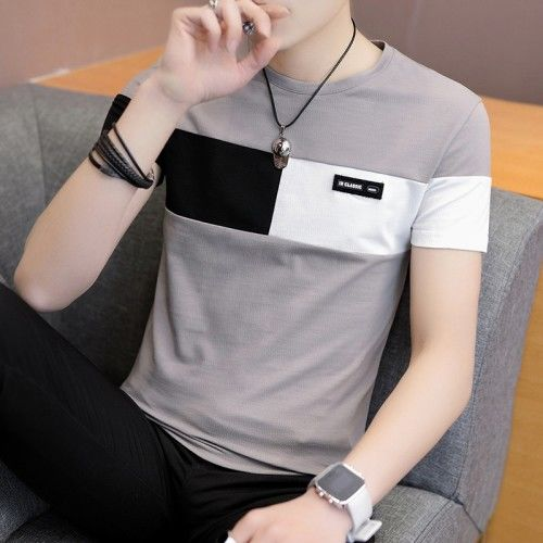 New Casual Polyester + Cotton O-Neck & Short Sleeve Pullover T-shirt