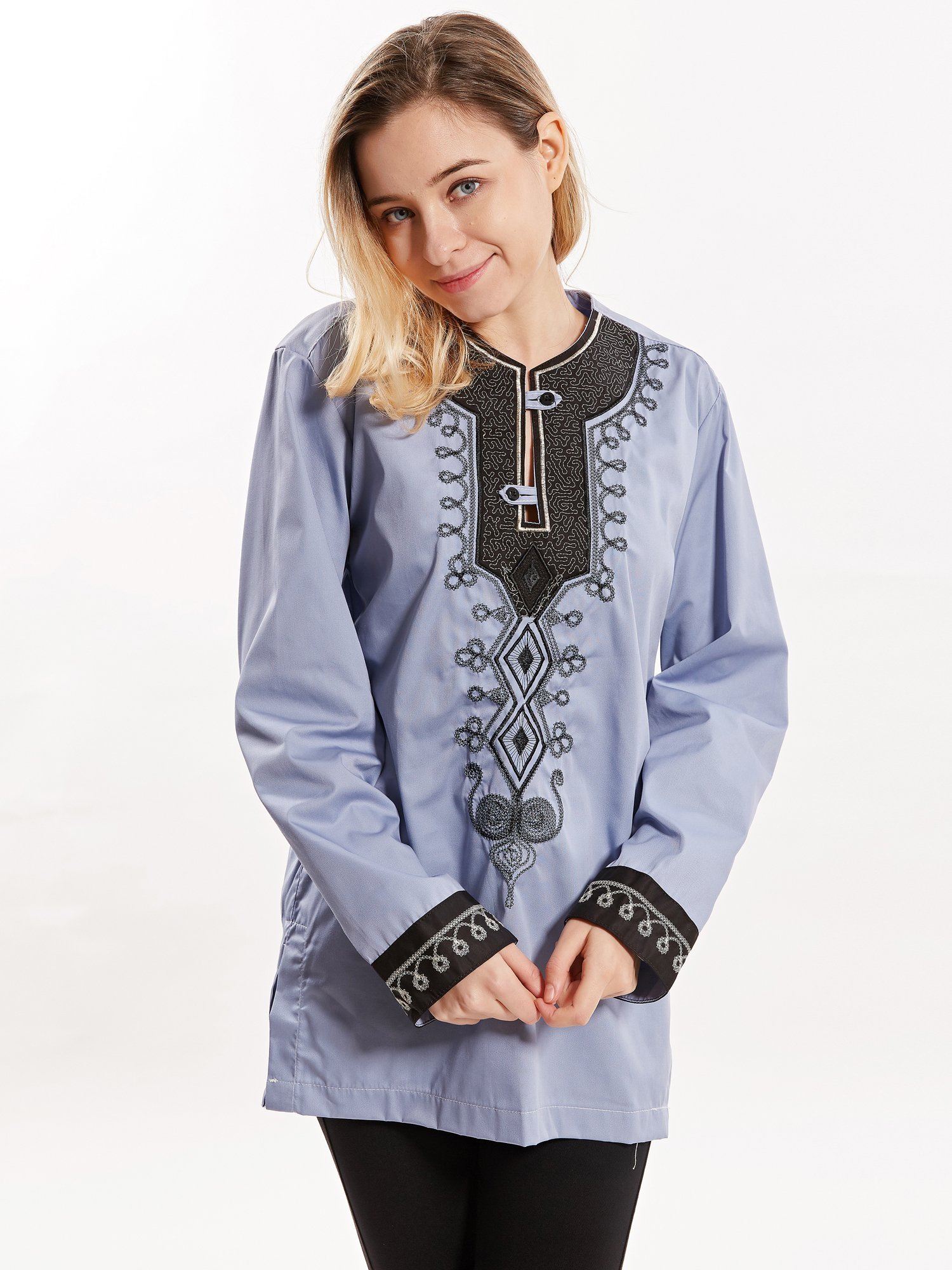 Casual Silk Material Long Sleeve & Round Neck Blouse with Embroidery