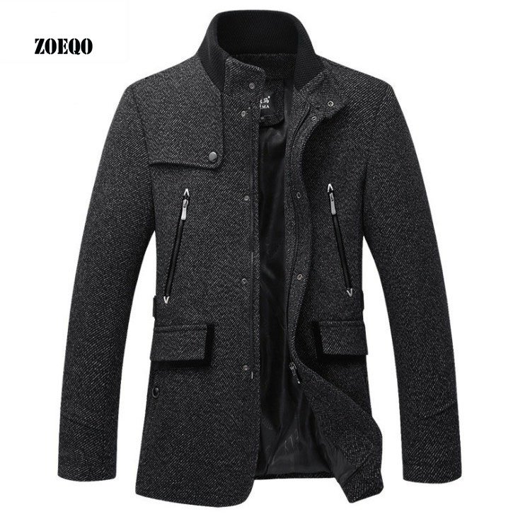 Polyester + Cotton Mandarin Collar & Full Sleeve Wool Blends Coat with Pockets