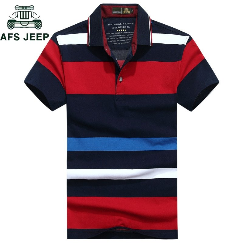 Striped Pattern Contrast Color & Cotton Stand Collar T-shirts with Button