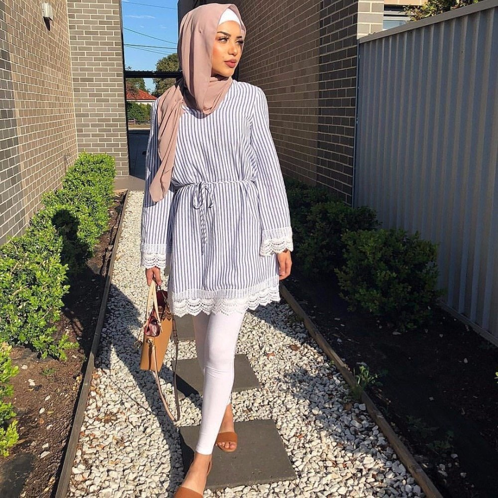 Stripped Pattern Lace Long Sleeve & O-Neck Robe Blouse Tops
