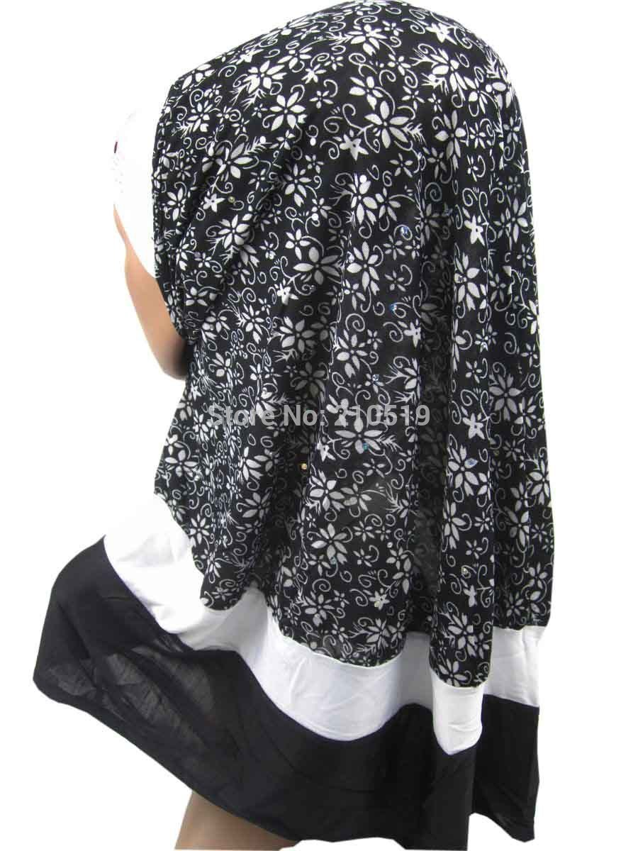 Printed Pattern Polyester + Knitted Fabric & Crystal Instant Hijabs