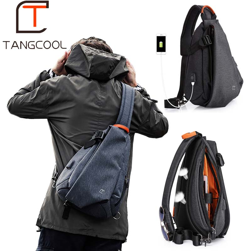Multi-function Flap Shape & Oxford + Polyester Crossbody Bags with USB Port