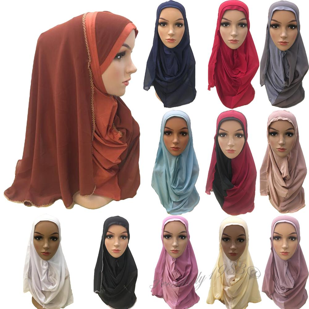Multicolor Polyester + Broadcloth Fabric & Breathable Soft Instant Hijab