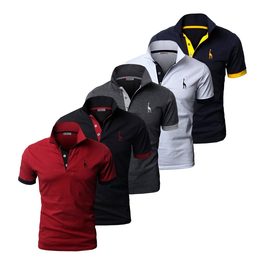 5Pcs Set Solid Pattern Slim Fit & Cotton Stand Collar T-shirts with Button