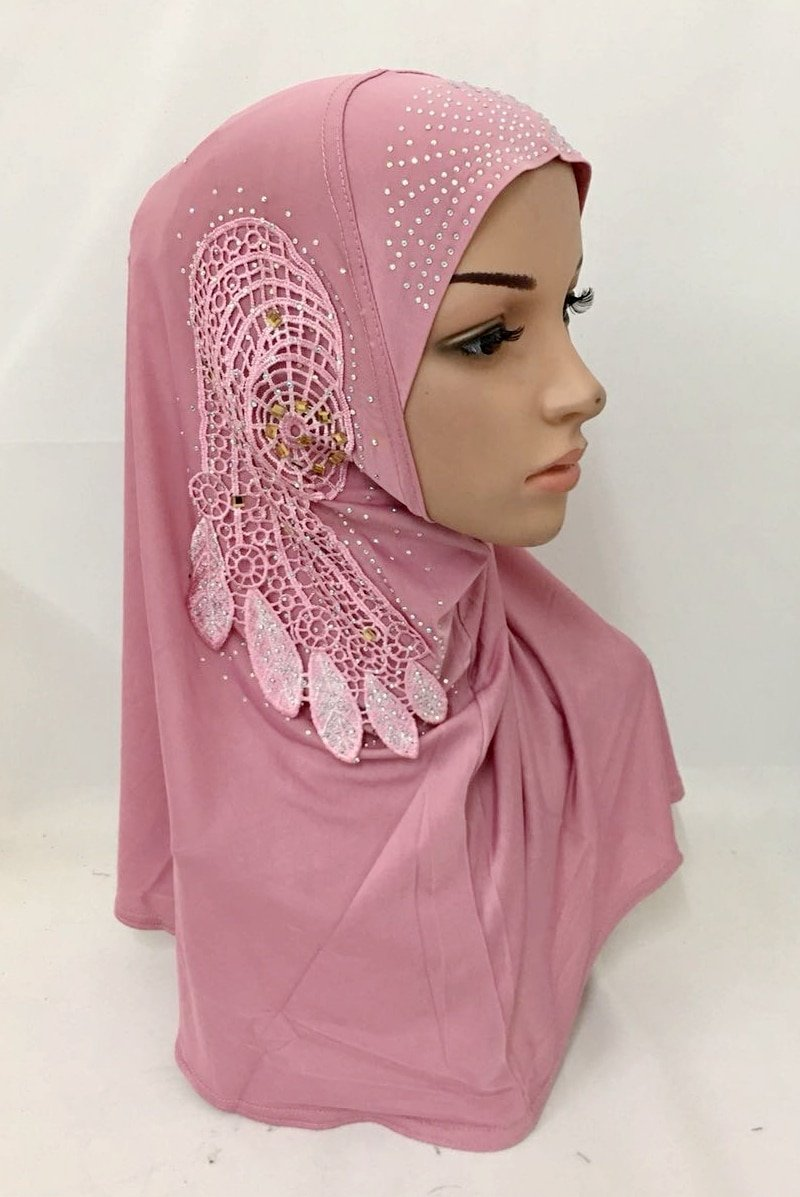 Flower Lace Decor Polyester Instant Patterened Hijabs with Crystal Beads