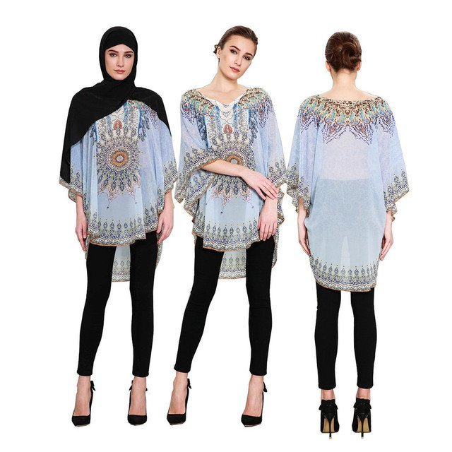 New Butterfly Sleeve & Round Neck Chiffon Fabric Blouse tops with  Prints