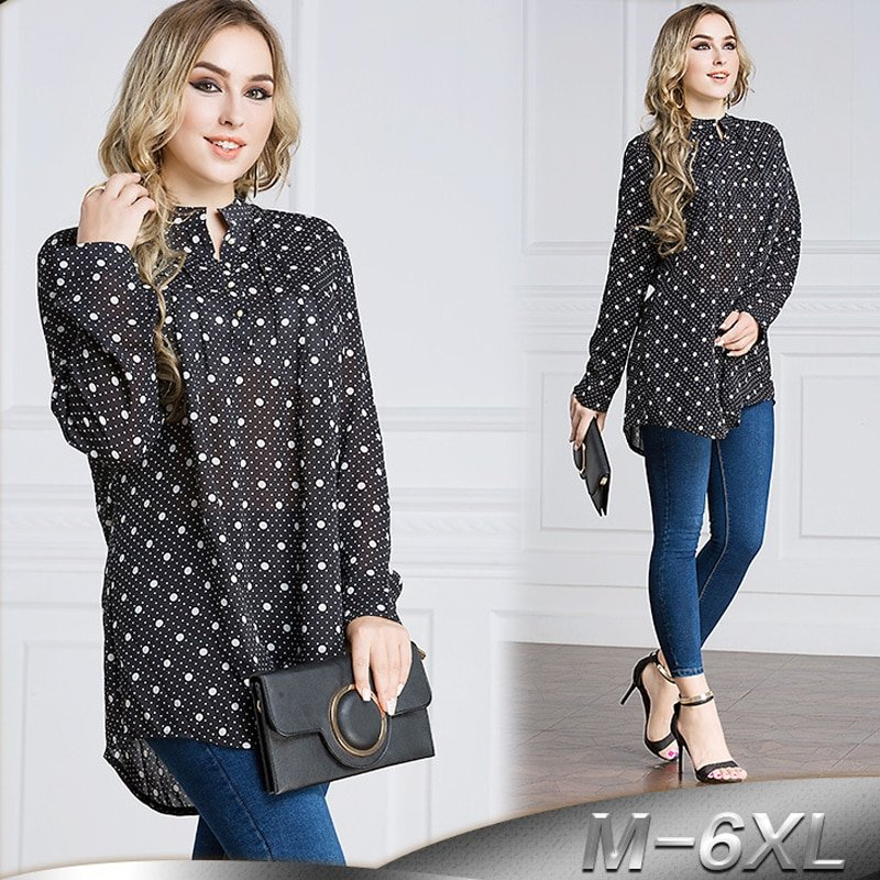 Plus Size 6XL Long Sleeve & O-Neck Polyester Blouse Top's with Dot Prints