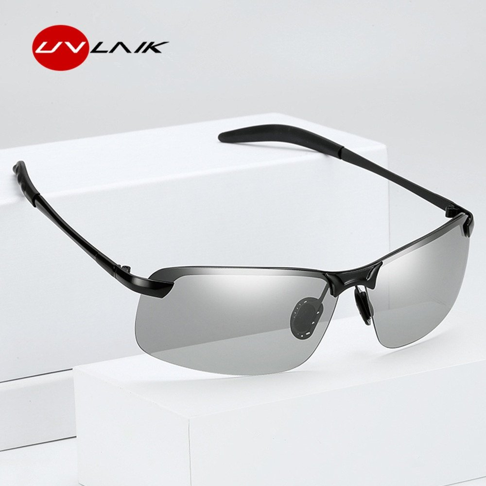 Photochromic Polarized Lenses & Metal Alloy Frame Sunglasses with Anti-Glare