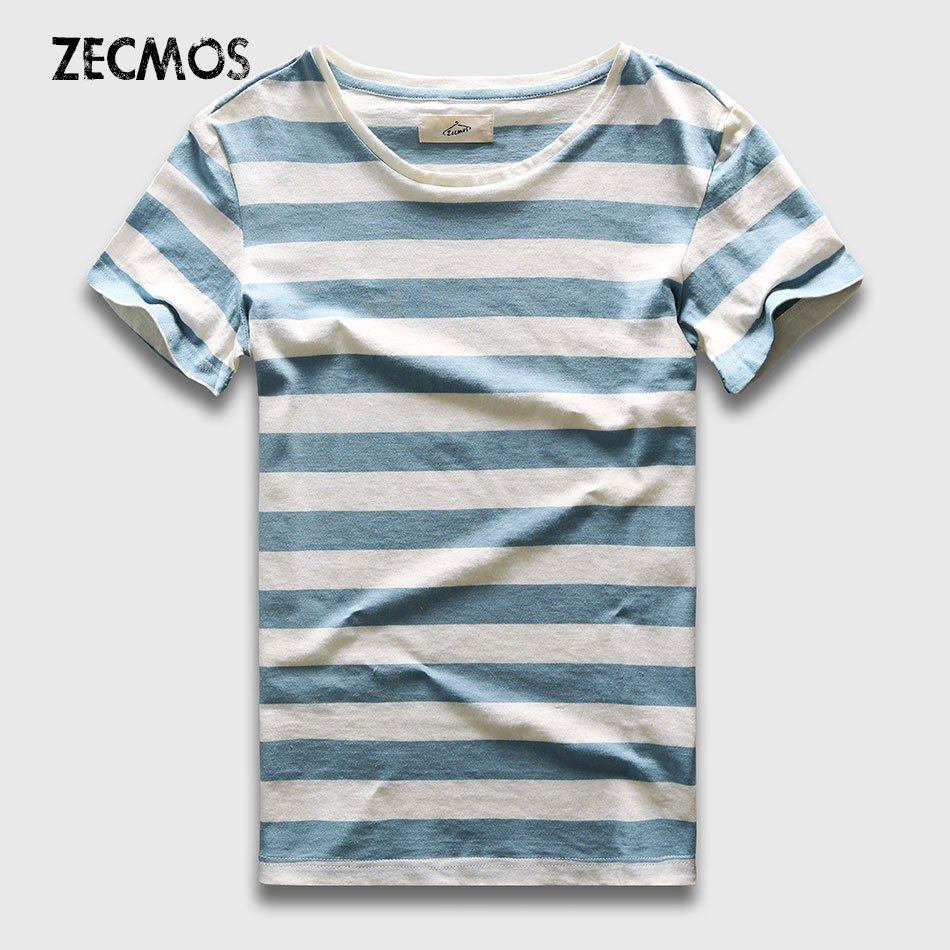 New Casual Striped Pattern O Neck & Short Sleeve Cotton T-Shirt Slim Fit
