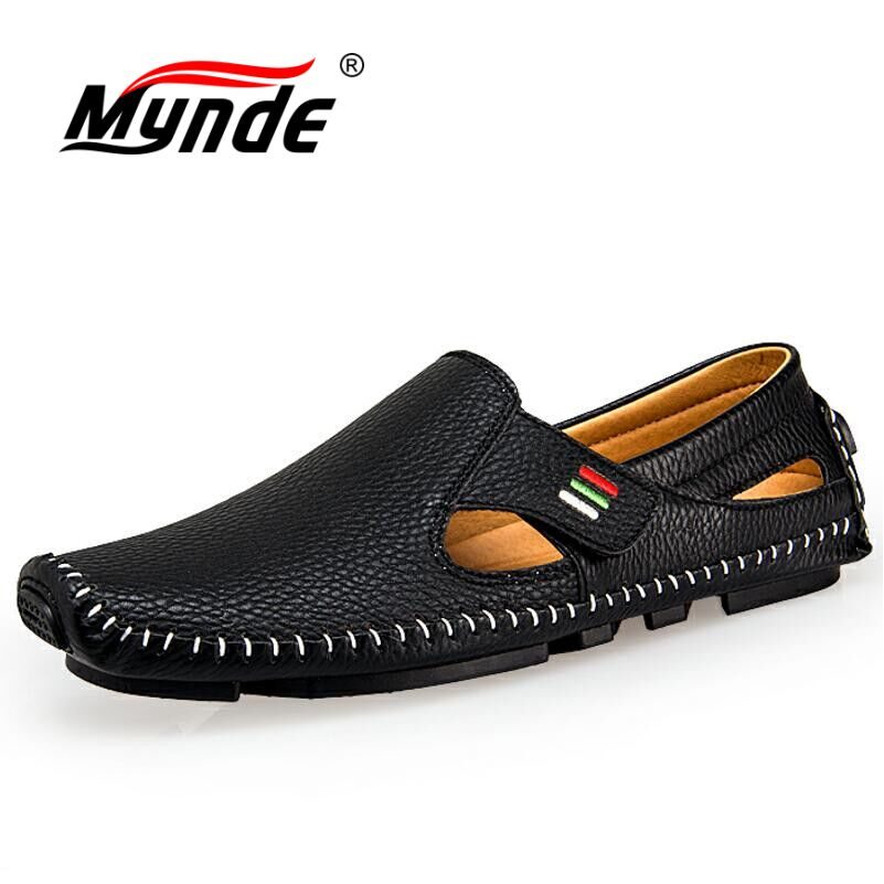 Solid Pattern Hook-Loop & Flat Heel Split Leather Loafer Shoes with Anti-Skid