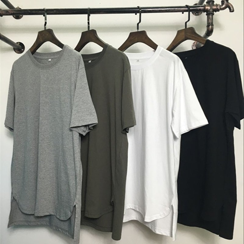 Solid Color Round Shape & Short Sleeve Cotton T-Shirt with irregular size