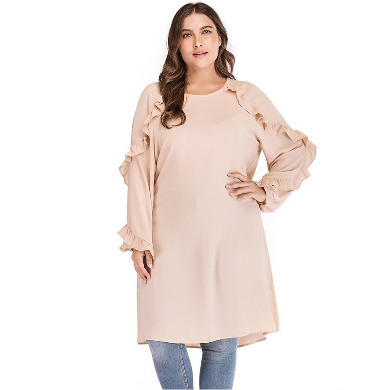 Polyester Plus Size 5XL Long Sleeve & O-Neck Tops with Ruffles Decor