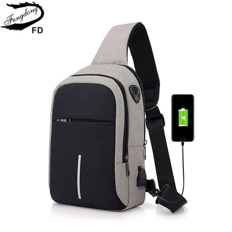 Soft Computer Interlayer & Oxford + Polyester Lining Crossbody Bags with USB Port