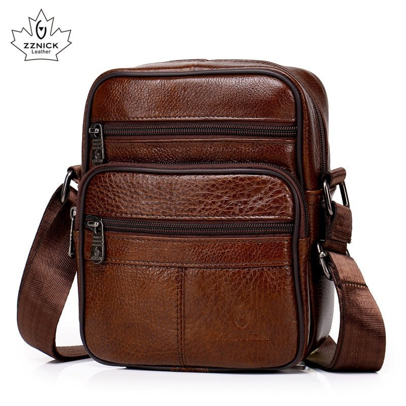 Solid Pattern Brown Color & Genuine Leather Crossbody Bag with Single Strap