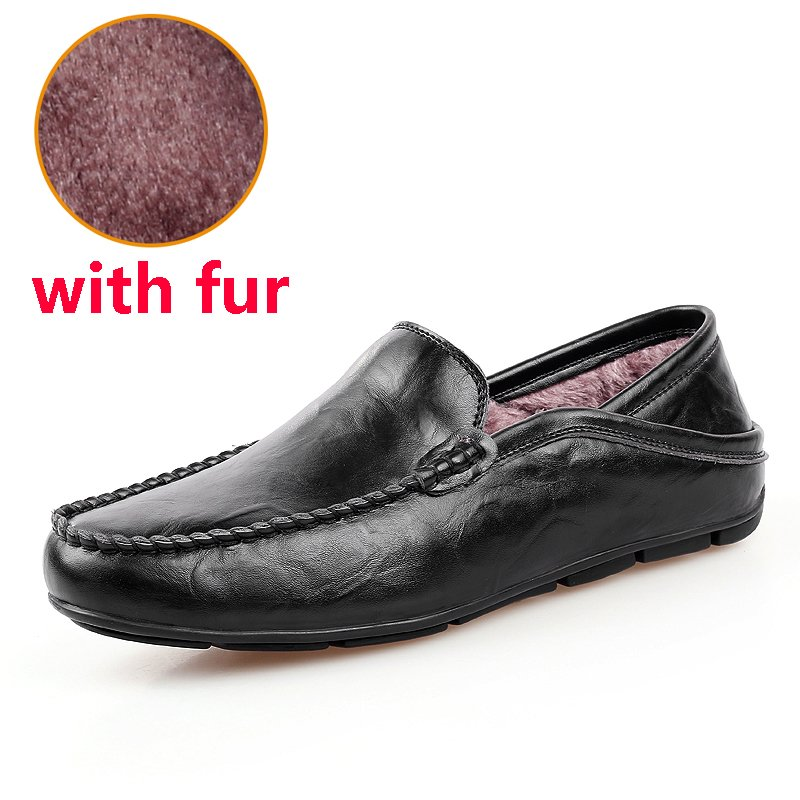 Solid Pattern Breathable & Genuine Leather Loafers Shoes with Waterproof