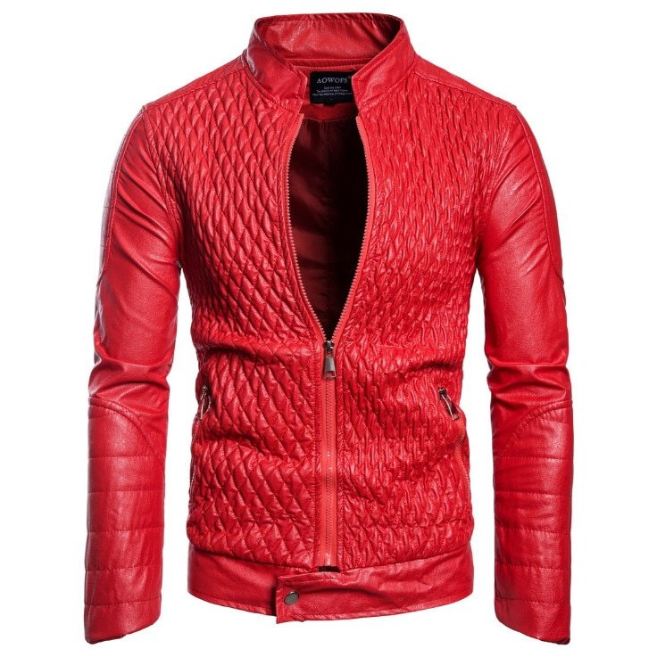 Black/Red Color Cris-Cross Pattern & Polyester Lining + PU Leather Jackets with Pockets