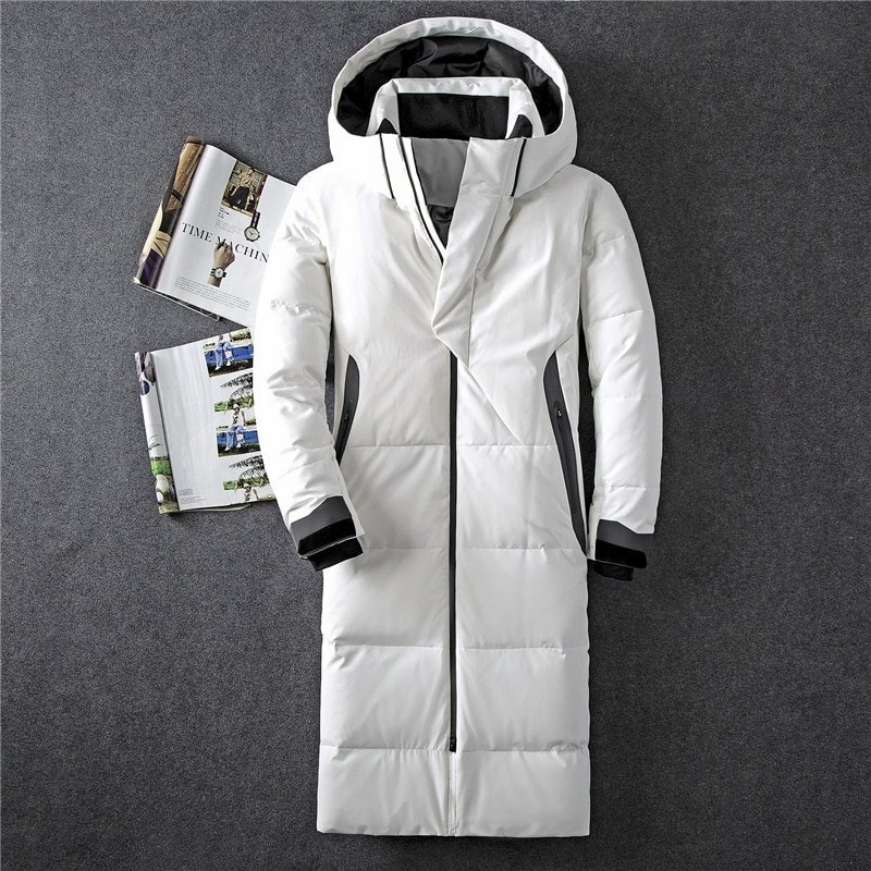 Acetate + Polyester Hat Detachable & Thick Long white duck Down Coats