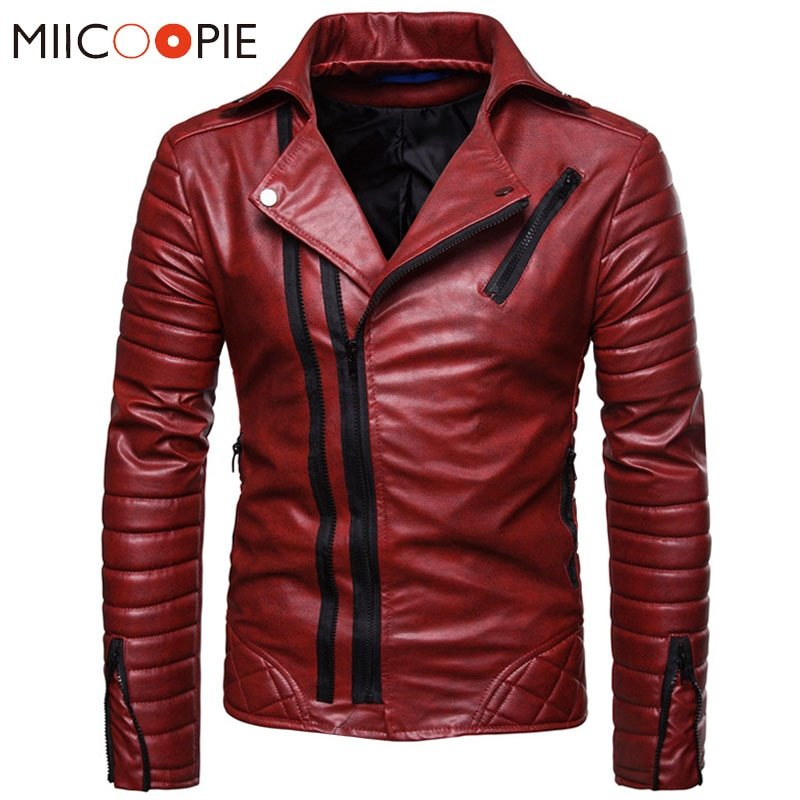 Plus Size 4XL Turn-down Collar & Polyester + PU Leather Jackets with zippers