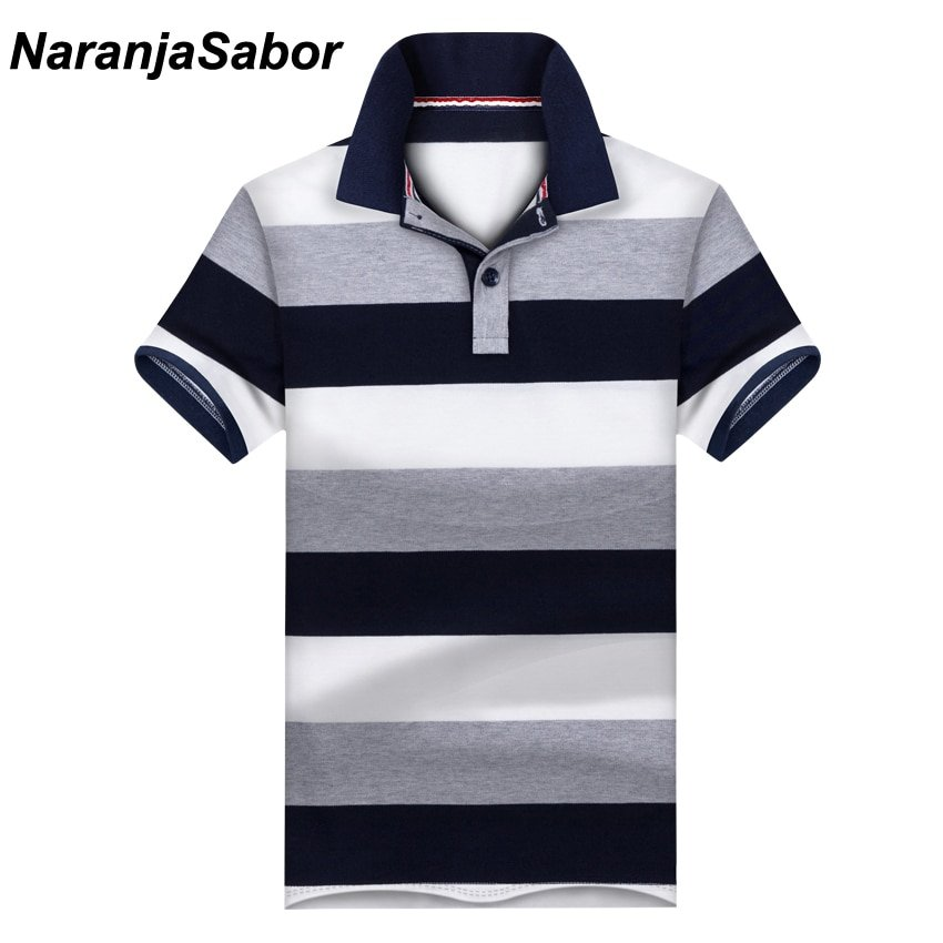 Contrast Color Striped Pattern & Cotton Stand Collar T-Shirts with Button