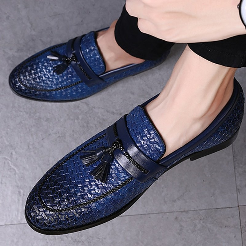Shining Rubber + PU Lining & Slip-On Loafer Shoes with Tassel Decor