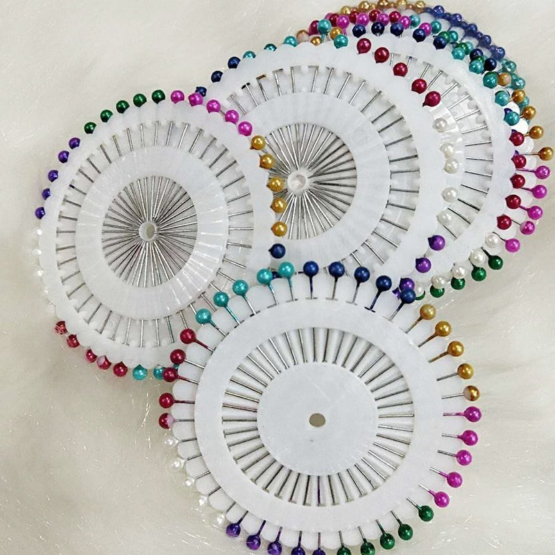 40pcs Colorful Shining Pearls Acrylic & Alloy Metal Hijab Pins with Mixed Color
