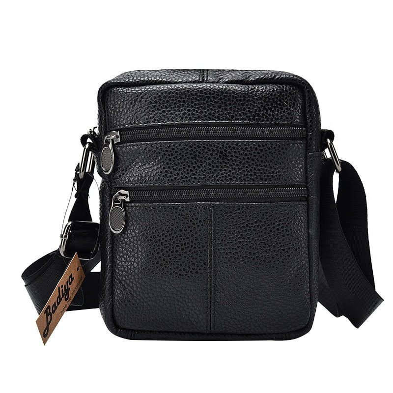 Genuine Leather + Polyester Lining & Silt Pocket Crossbody Bags with Flap Shape