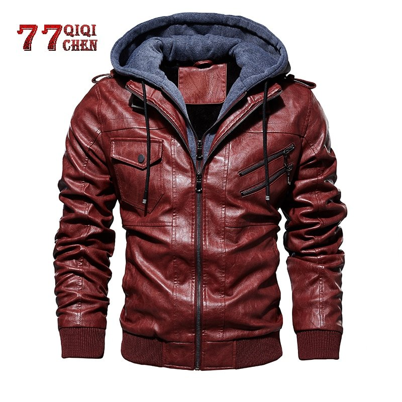 Solid Color Turn-down Collar & Full Sleeve PU Leather Jackets Outerwear