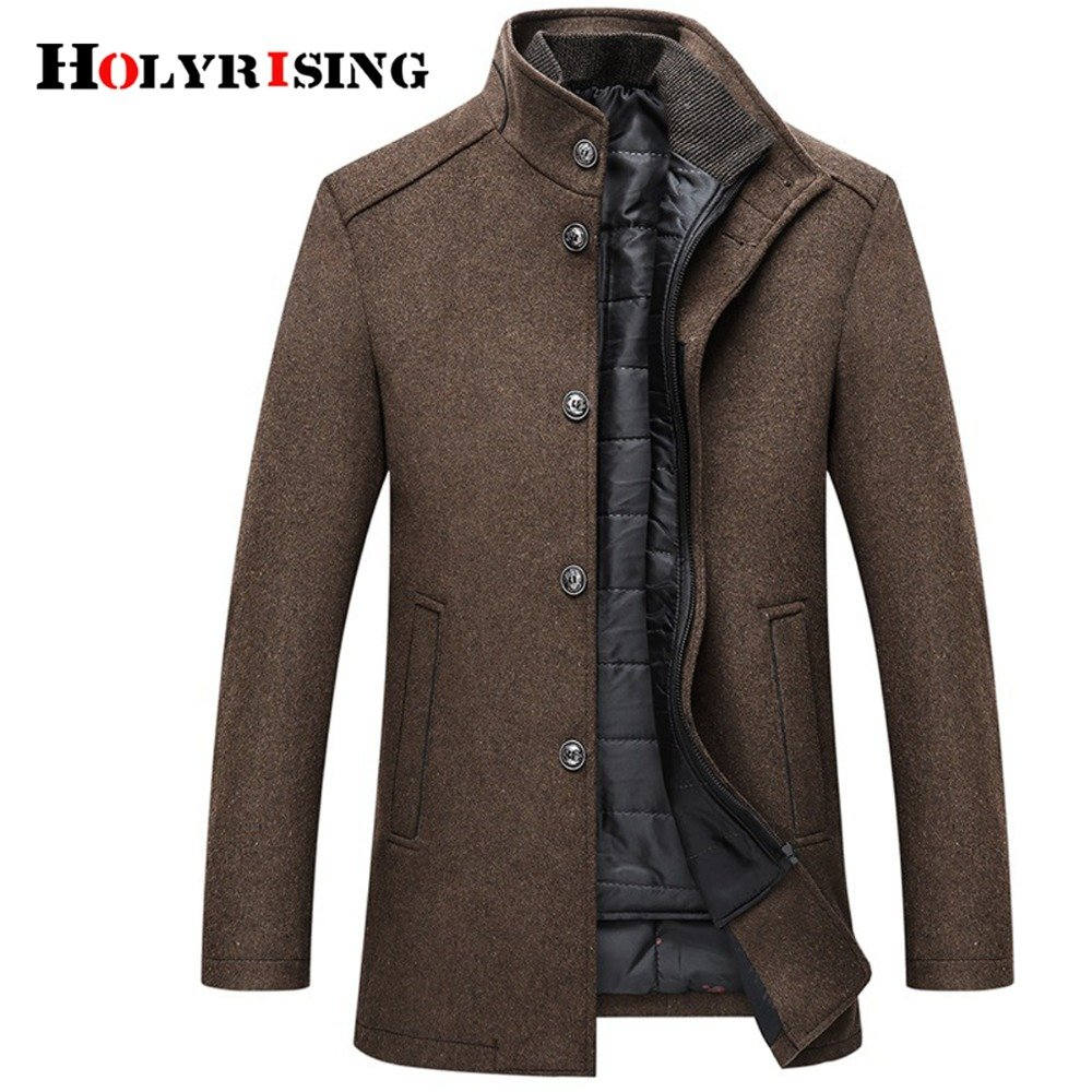 Polyester Mandarin Collar & Single Breasted Thick Wool Blends with zipper