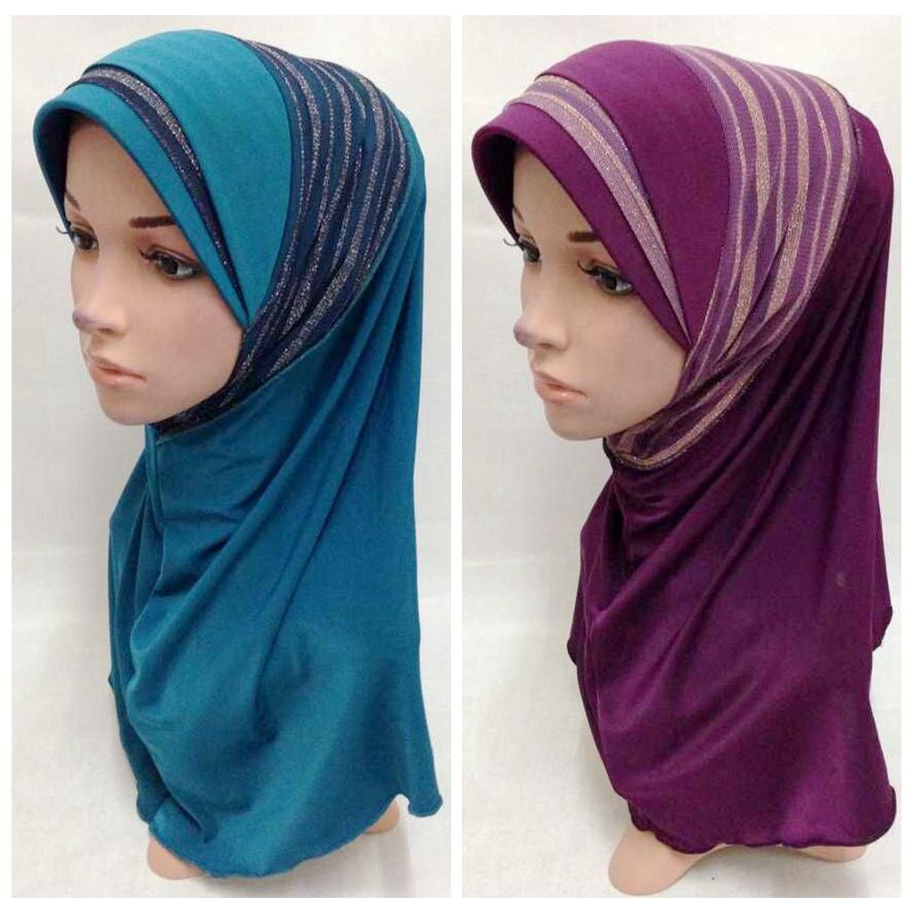 Multicolor Polyester + Knitted Fabric Instant Patterened Hijab
