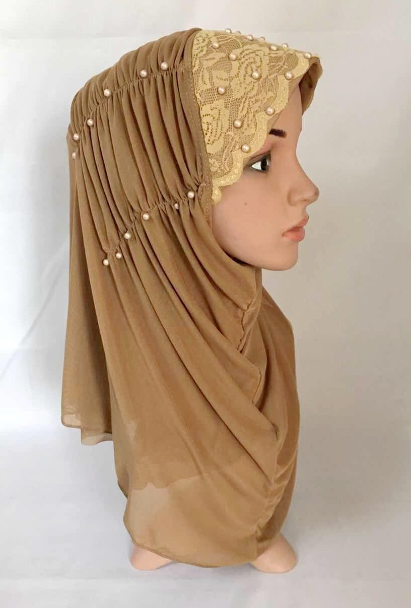 Pleated Polyester + Knitted Fabric & Pearls Beads Instant Hijab with Lace
