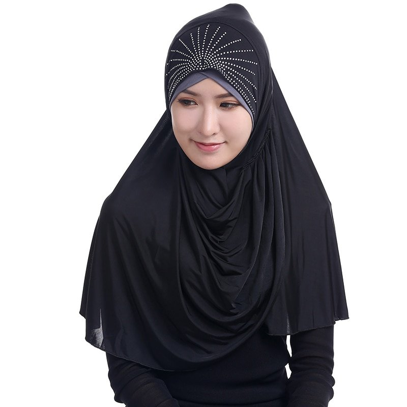 Viscose + Jersey Fabric Solid Color & Plain Instant Hijab with Diamonds