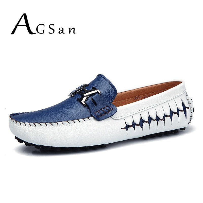 Anti-Skid Breathable & Slip-on Genuine Leather Loafer Shoes with Metal design
