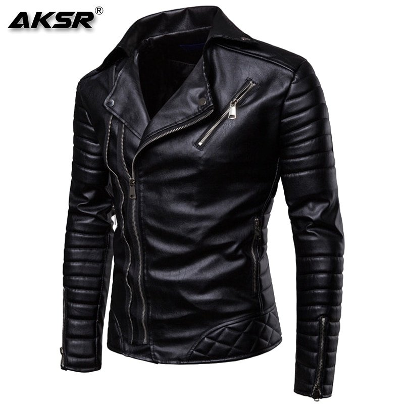 Striped Long Sleeve Slim Fit & Turn-down Collar Faux Leather Jackets with zippers