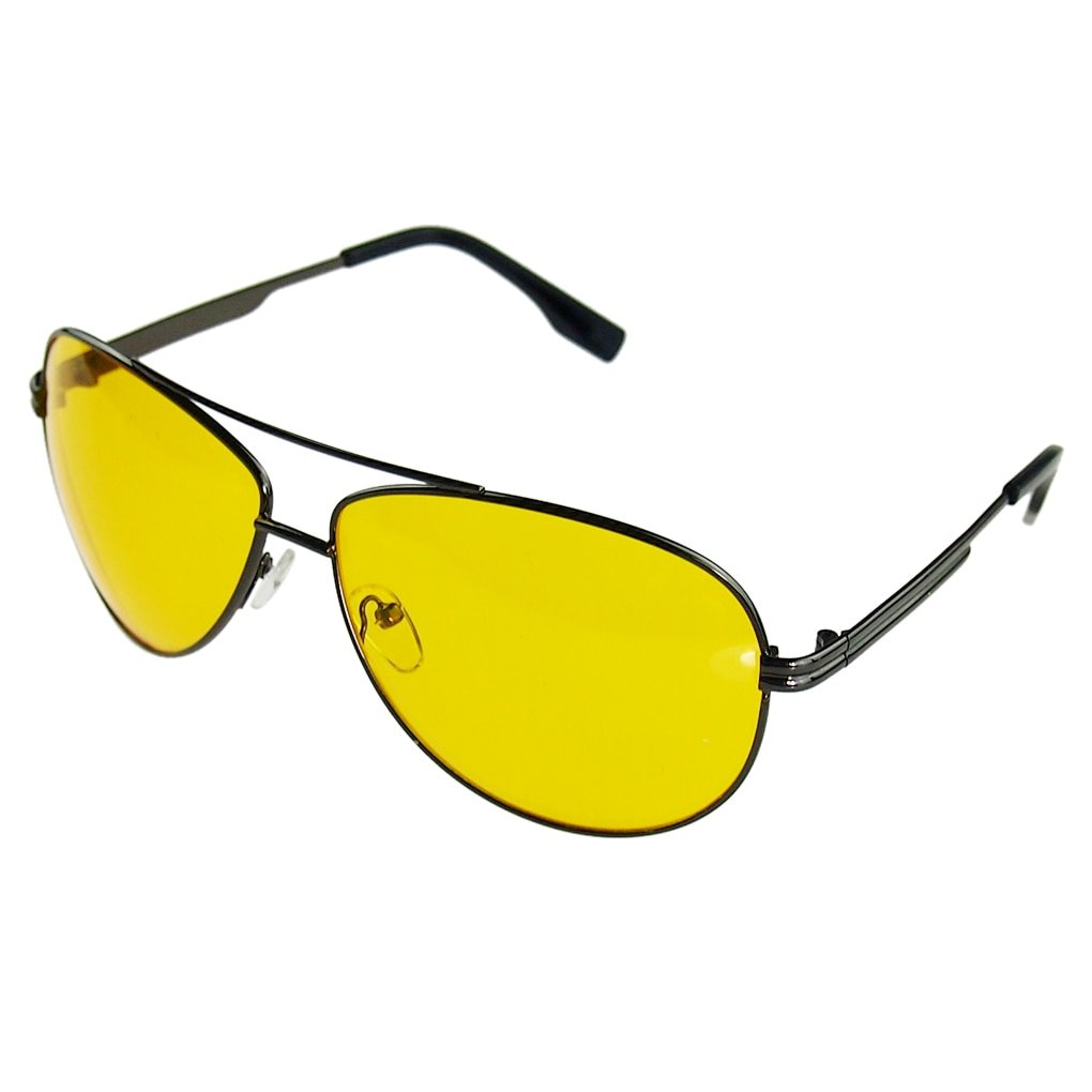 Metal + Resin Frames & Plastic Lenses Night Vision Glasses with Yellow Color