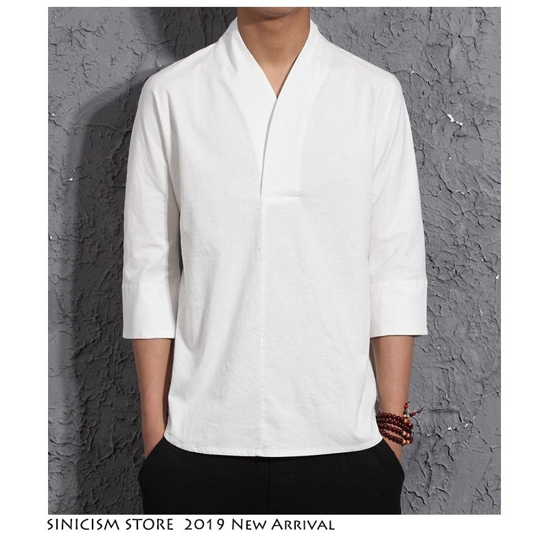 New Fashion Solid Color V-Neck & 3/4 Sleeve Linen + Cotton T-Shirt