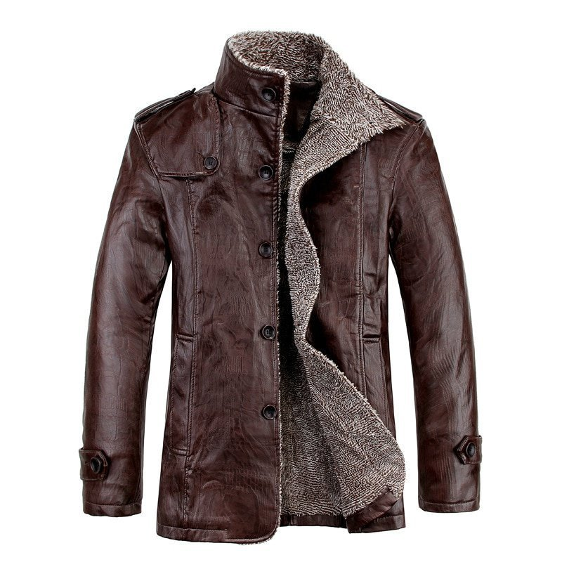 Plus Size 8XL Single Breasted & Long Sleeve PU Leather Jackets