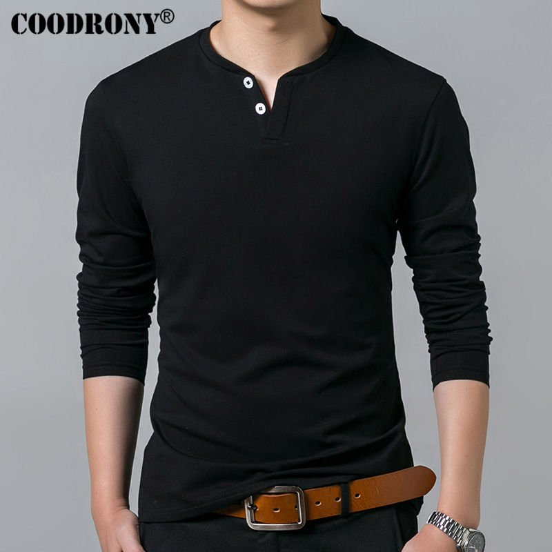 Solid Pattern Round Neck & Full Sleeve Cotton T-shirt with Buttons