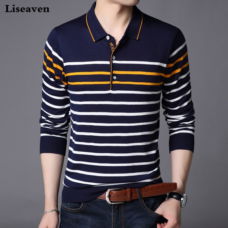 Striped Pattern Full Sleeve & Turn-Down Collar T-Shirts with Buttons