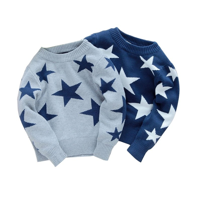 Star Pattern Blue/Gray Color Cotton & O-Neck Children Sweaters with Elasticity
