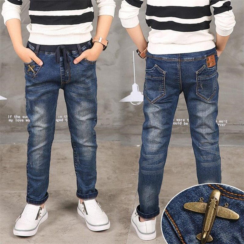 Blue Color Light Wash Straight Fit & Solid Pattern Children Denim Jeans with Strings