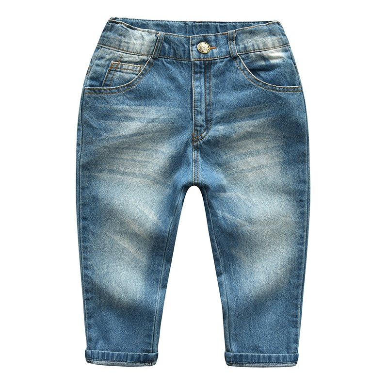 Light Wash Straight Fit & Elastic Waist Children Denim Jeans with Shades