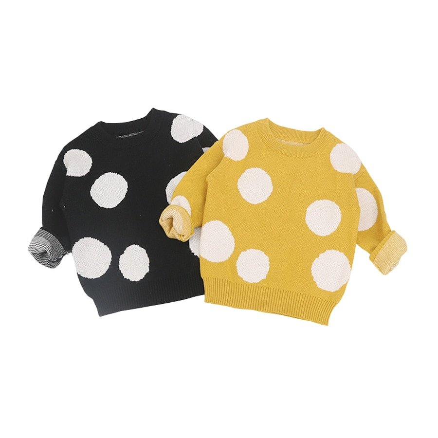 Dotted Pattern Yellow/Black Color & Cotton Soft Sweaters for 1-6 Years Children