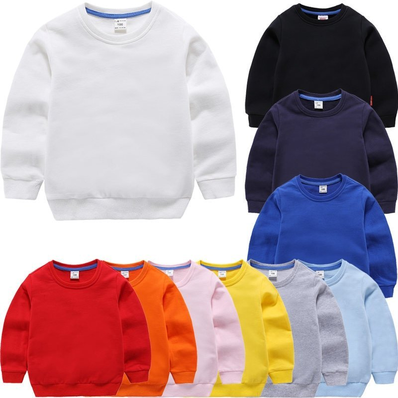Round Neck Candy Color Cotton & Children's Sweatshirts for 1-9 Years Kids
