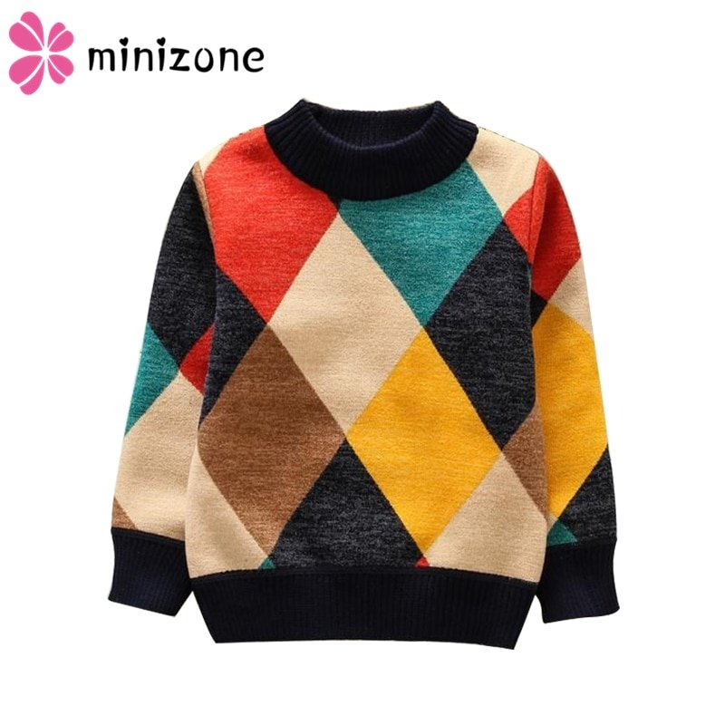 Plaid Pattern Thick Warm Cotton & O-Neck Children Sweaters Breathable