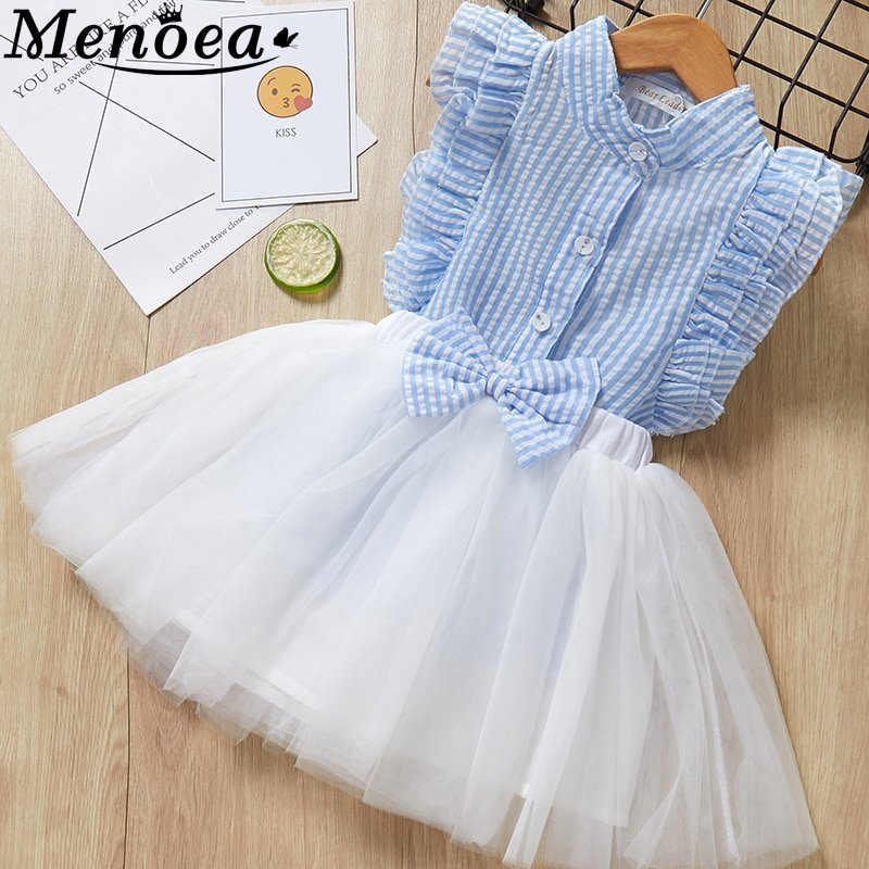 Casual Cotton + Lycra Striped Shirt & Mesh Skirt Clothing Sets for Kids