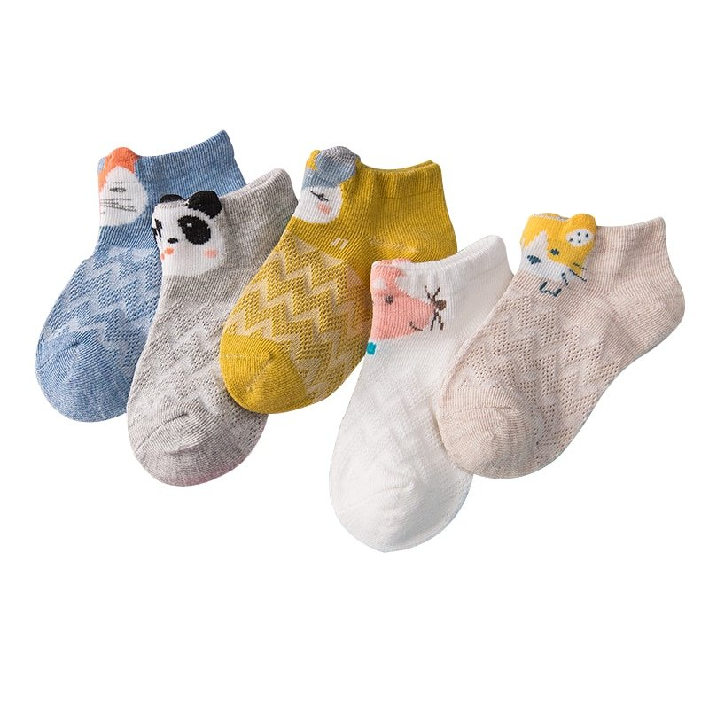 5 Pairs Cotton + Poleyster Soft & Comfortable Children Ankle Socks