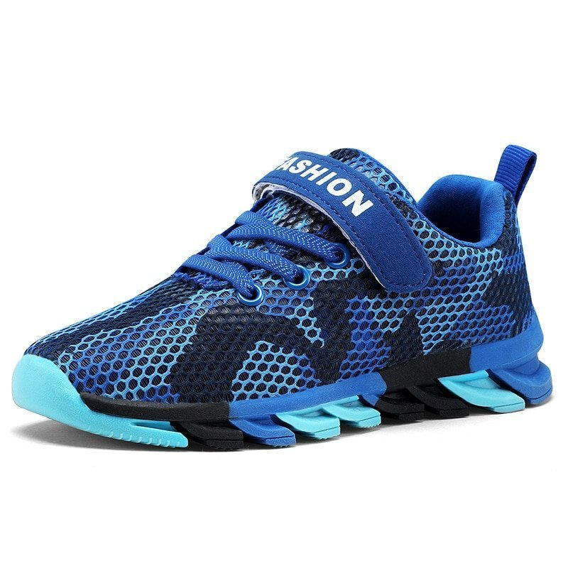 Printed Pattern Cotton + Mesh Lining & Breathable Sneakers with Flat Heel