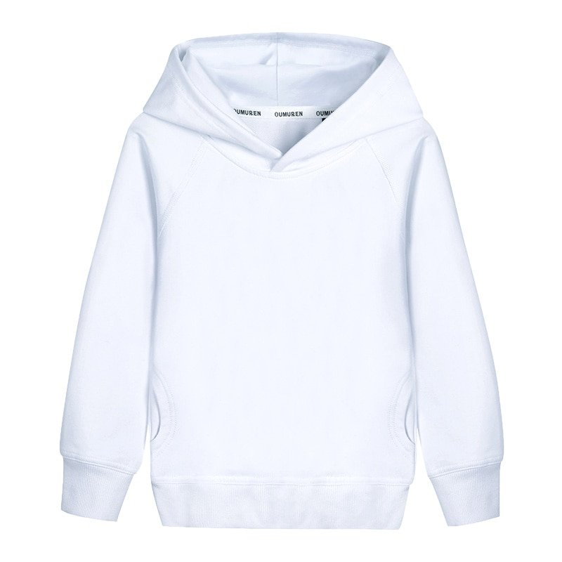 Long Sleeve Solid Color Cotton + Polyester & Boy Hoodies with pockets